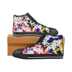 Blue & Red Paint Splatter - Black High Top Canvas Shoes for Kid (Model 017)