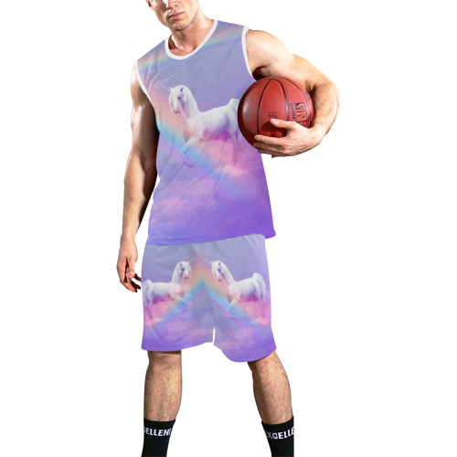 Unicorn and Rainbow All Over Print Basketball Uniform