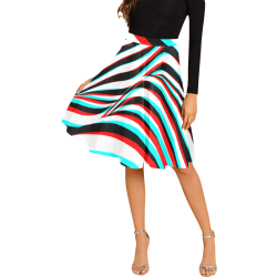 Black and White Wave Graphic 3D Stereoscopic Melete Pleated Midi Skirt (Model D15)