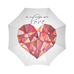 RED HEART WIREFRAME Foldable Umbrella (Model U01)
