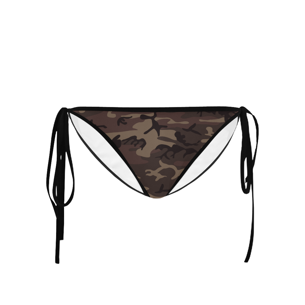 Camo Red Brown Custom Bikini Swimsuit Bottom