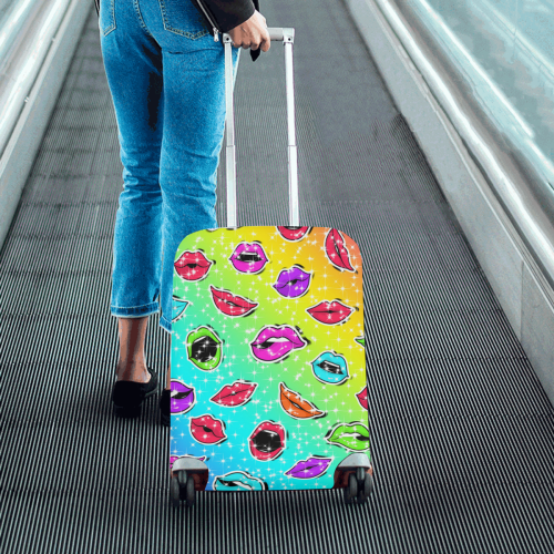"""Women Sexy Hot Lips Comic - Colorful Pattern 1 Luggage Cover/Small 18""""-21"""""""