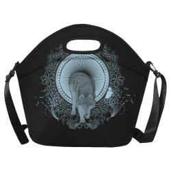 Wolf in black and blue Neoprene Lunch Bag/Large (Model 1669)