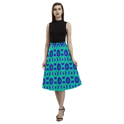 Blue Geometric Shapes in Turquoise Aoede Crepe Skirt (Model D16)