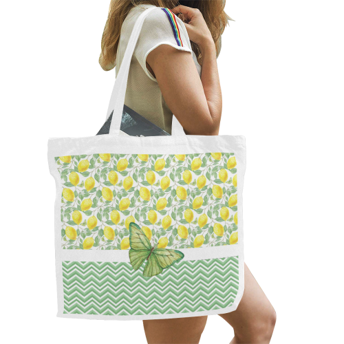 Butterfly And Lemons Canvas Tote Bag/Large (Model 1702)