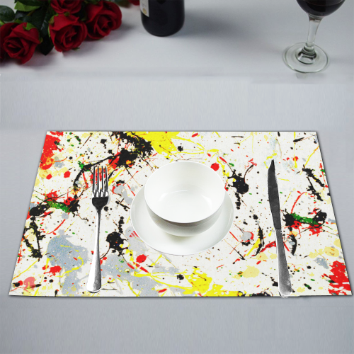 Yellow & Black Paint Splatter Placemat 12'' x 18'' (Four Pieces)