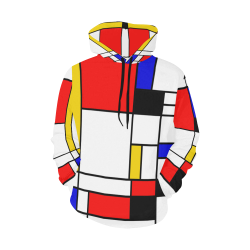 Bauhouse Composition Mondrian Style All Over Print Hoodie (for Women)
