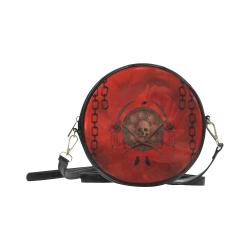 Skulls on red vintage background Round Sling Bag (Model 1647)