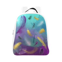 Dancing Feathers - Turquoise and Purple School Backpack (Model 1601)(Small)