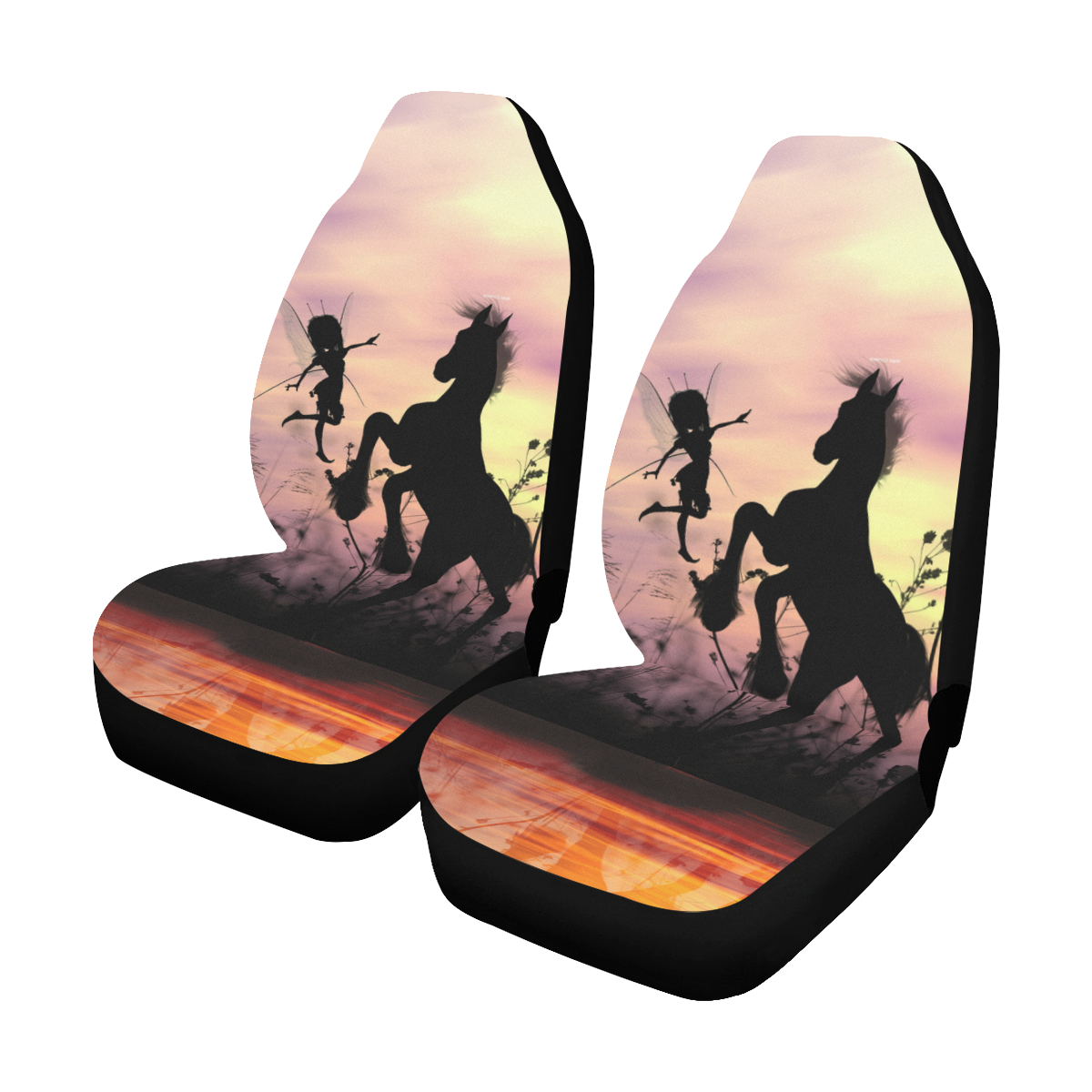 Wonderful fairy with foal in the sunset Car Seat Covers (Set of 2)