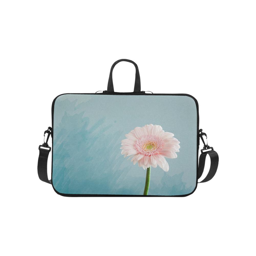 "Gerbera Daisy - Pink Flower on Watercolor Blue Laptop Handbags 10"""