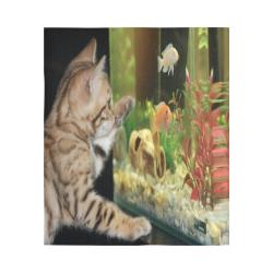"Wishing To Be Fishing Kitten Cotton Linen Wall Tapestry 51""x 60"""