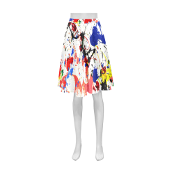 Blue and Red Paint Splatter Athena Women's Short Skirt (Model D15)