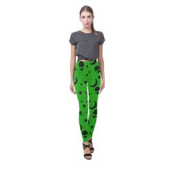 Alien Flying Saucers Stars Pattern on Green Cassandra Women's Leggings (Model L01)