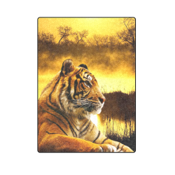 "Tiger and Sunset Blanket 58""x80"""