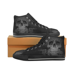 Steampunk Alchemist Mage Roses Celtic Skull halfto Women's Classic High Top Canvas Shoes (Model 017)