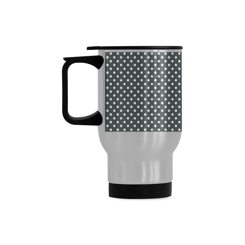 Silver polka dots Travel Mug (Silver) (14 Oz)