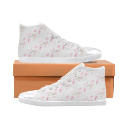 Pattern Orchidées Women's High Top Canvas Shoes (Model 002)