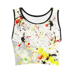 Yellow & Black Paint Splatter Women's Crop Top (Model T42)