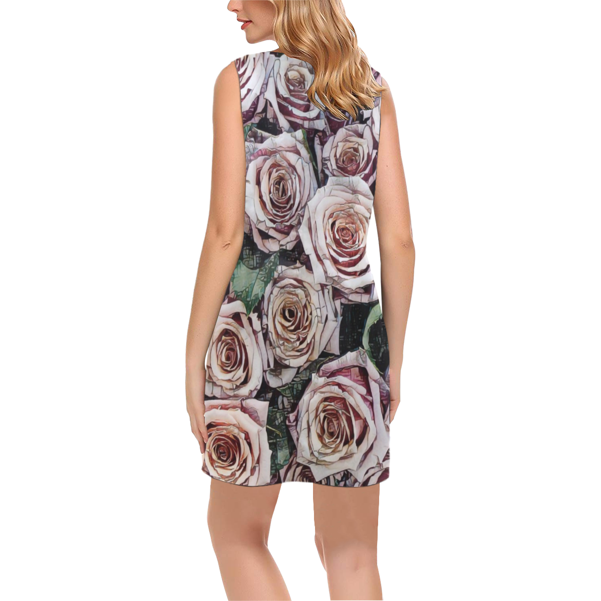 Impression Floral 9196 by JamColors Phoebe Sleeveless V-Neck Dress (Model D09)
