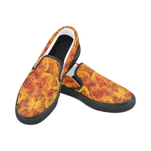 Grenadier Tangerine Roses Women's Unusual Slip-on Canvas Shoes (Model 019)