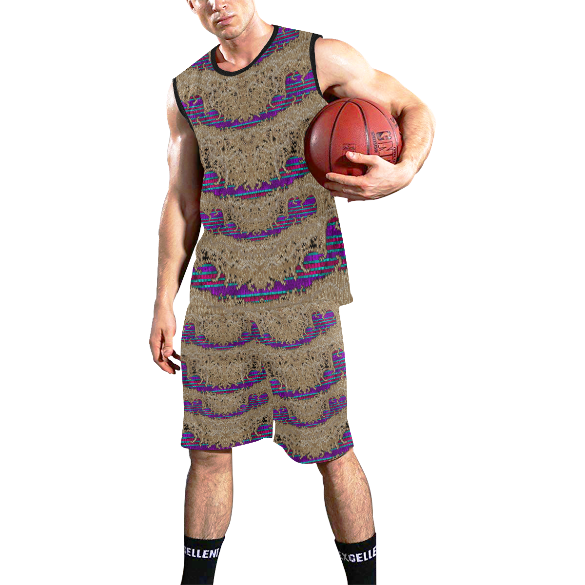 Pearl lace and smiles in peacock style All Over Print Basketball Uniform