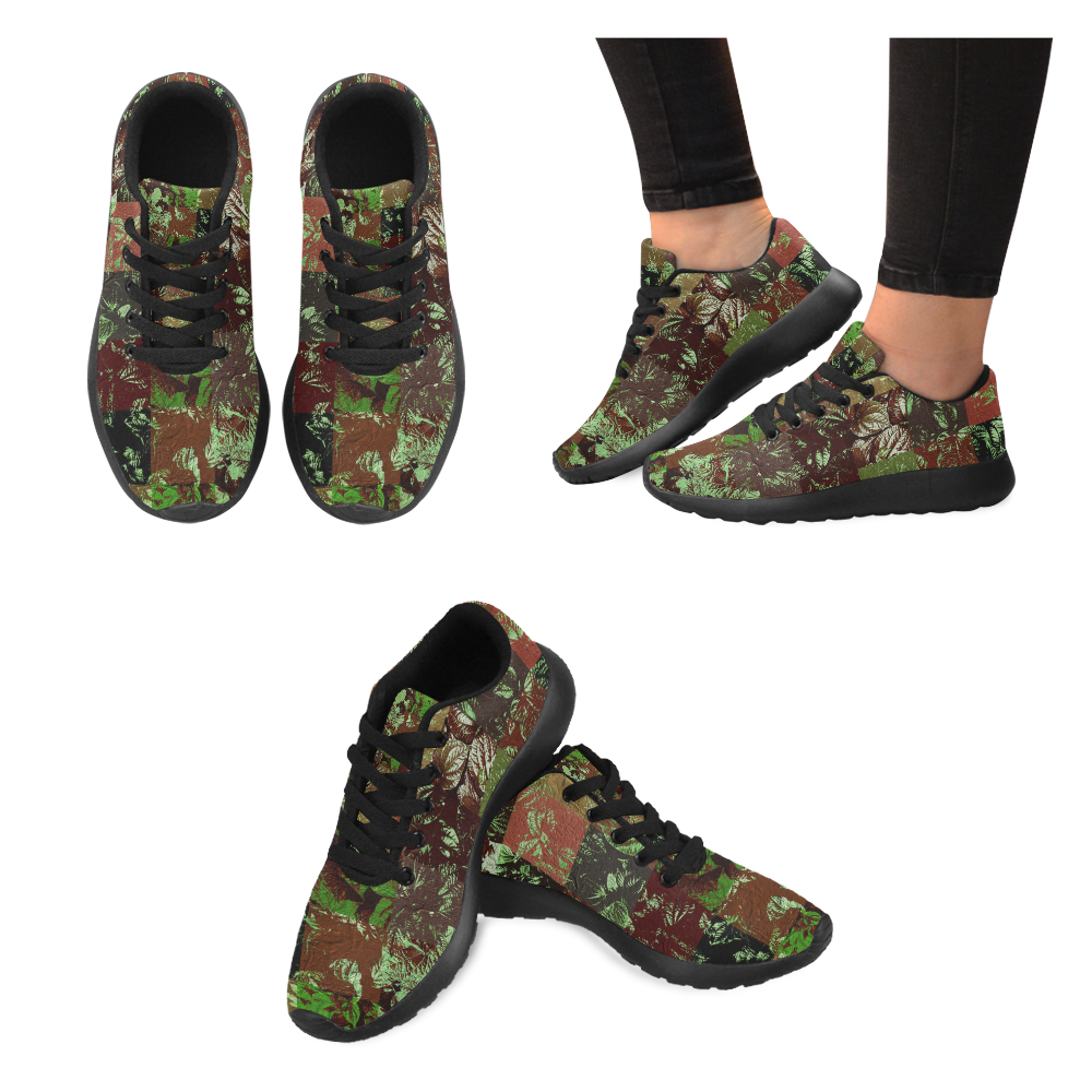 Foliage Patchwork #4 by Jera Nour Women's Running Shoes/Large Size (Model 020)