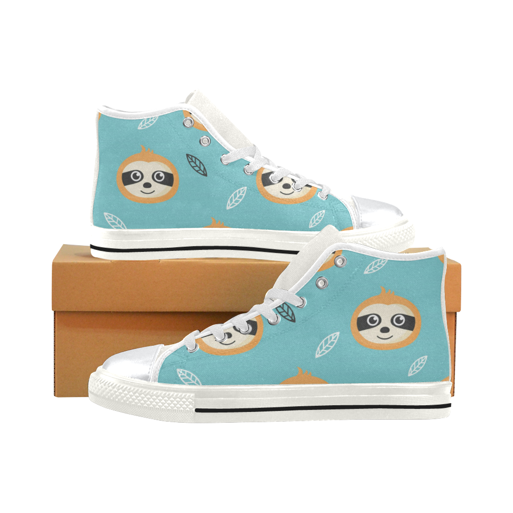 Cute Sloth Faces High Top Canvas Shoes for Kid (Model 017)