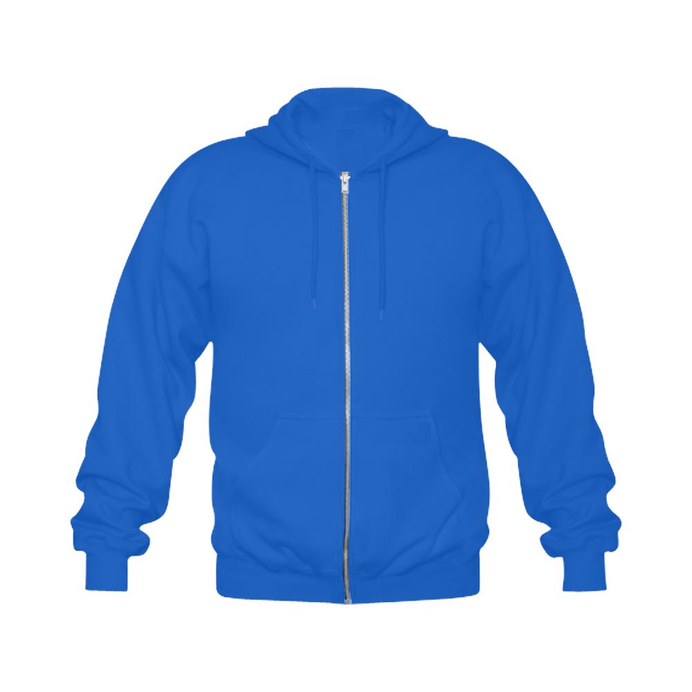 Raven Sugar Skull Blue Gildan Full Zip Hooded Sweatshirt (Model H02)