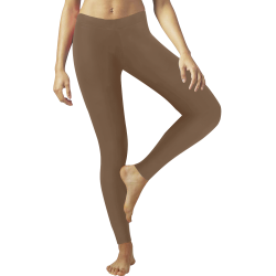 Shiny Brown Metallic Low Rise Leggings (Invisible Stitch) (Model L05)