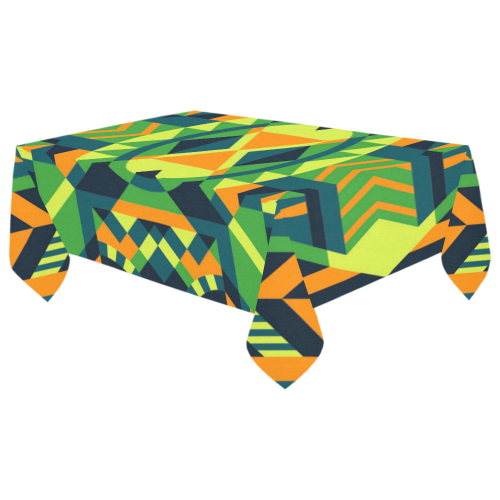 "Modern Geometric Pattern Cotton Linen Tablecloth 60""x 104"""