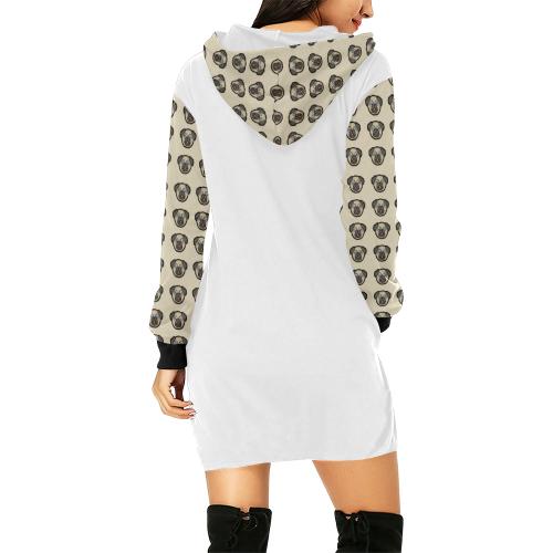 Pug Love All Over Print Hoodie Mini Dress (Model H27)