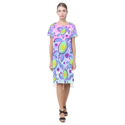 Sea Turtle and Sun Abstract Glitch Ultraviolet Short Sleeves Casual Dress(Model D14)