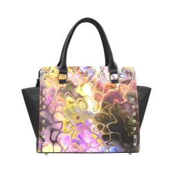 Colorful Marble Design Rivet Shoulder Handbag (Model 1645)