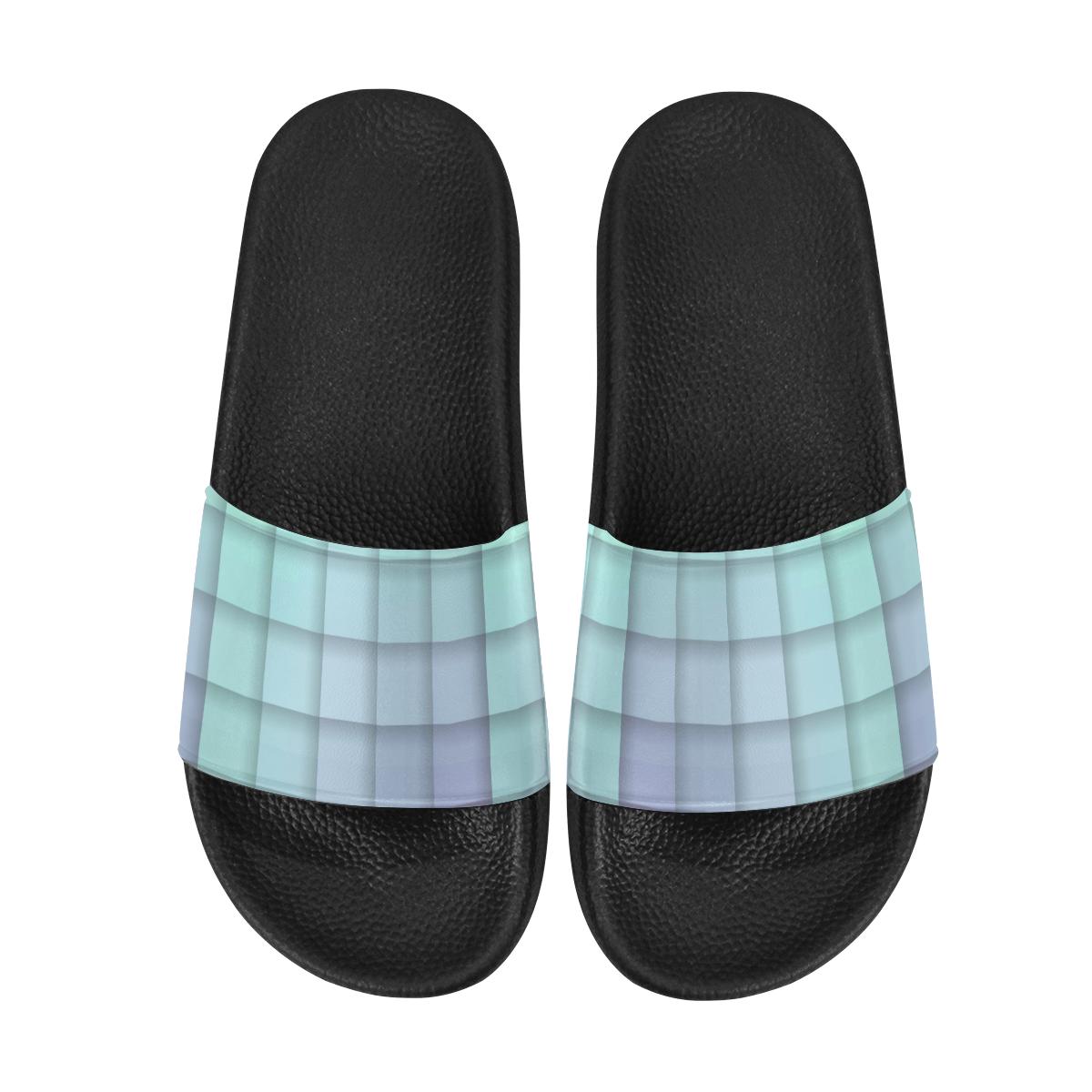 Glass Mosaic Mint Green and Violet Geometric Women's Slide Sandals (Model 057)