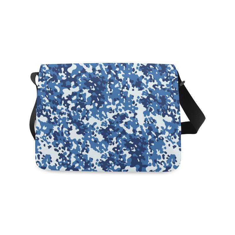 Digital Blue Camouflage Messenger Bag (Model 1628)