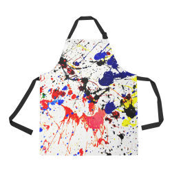 Blue & Red Paint Splatter All Over Print Apron