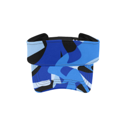 Camouflage Abstract Blue and Black All Over Print Sports Visor