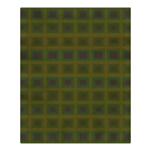Green violet multicolored multiple squares 3-Piece Bedding Set