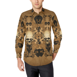 Skull with skull mandala on the background Men's All Over Print Casual Dress Shirt (Model T61)