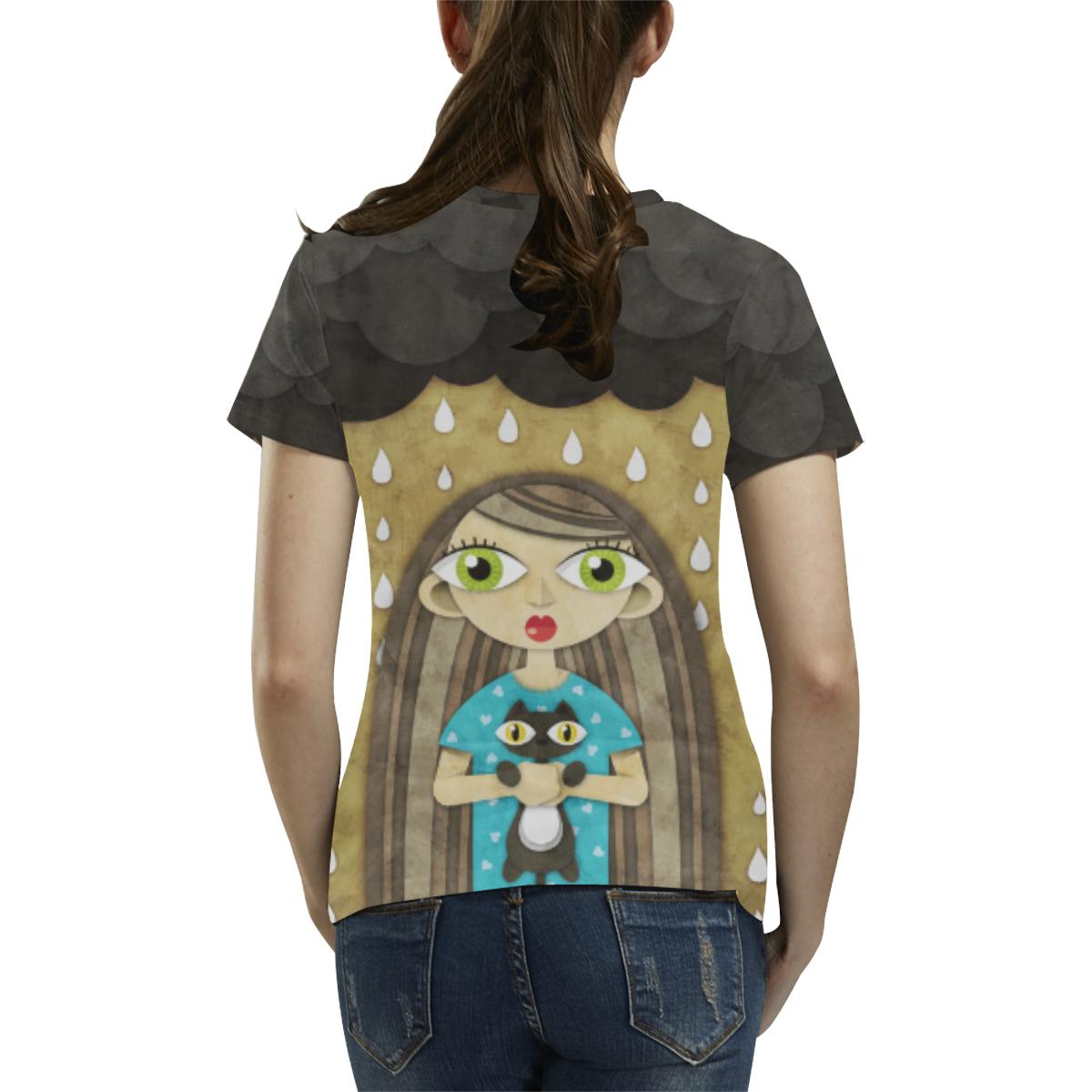 We Love Rain All Over Print T-Shirt for Women (USA Size) (Model T40)
