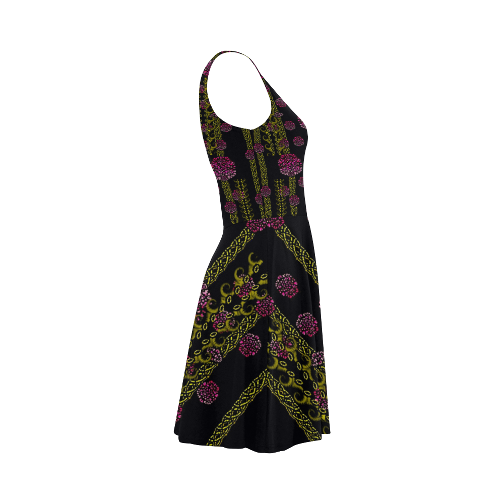wild flowers on black Atalanta Sundress (Model D04)