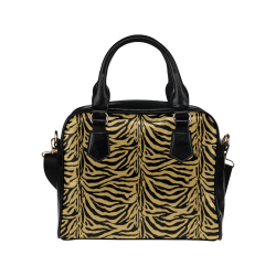 Zebra Animal Pattern on Gold Shoulder Handbag (Model 1634)