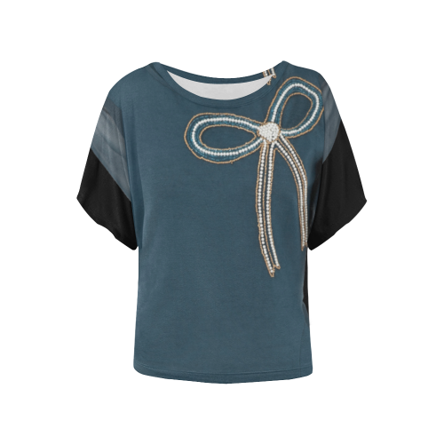 Neckline Bow Print Women's Batwing-Sleeved Blouse T shirt (Model T44)