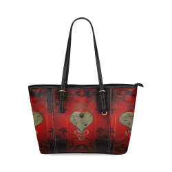 Wonderful decorative heart Leather Tote Bag/Small (Model 1640)