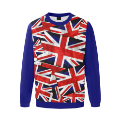 Union Jack British UK Flag  (Vest Style) Blue Men's Oversized Fleece Crew Sweatshirt/Large Size(Model H18)