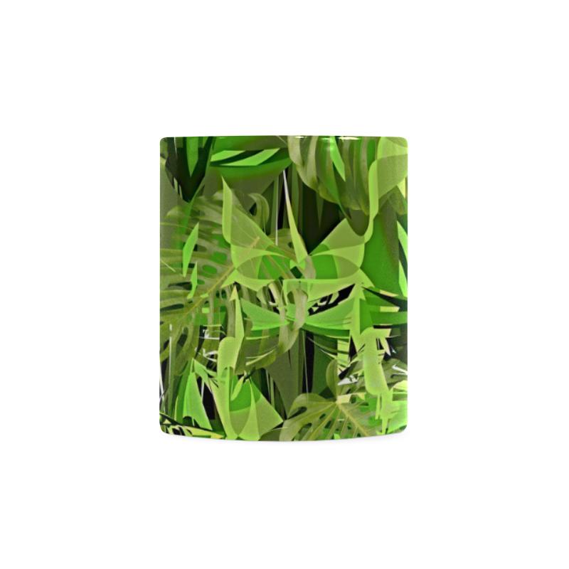 Tropical Jungle Leaves Camouflage White Mug(11OZ)