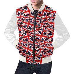 Union Jack British UK Flag (Vest Style) White All Over Print Bomber Jacket for Men (Model H19)