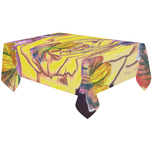 "Watercolor Flowers Yellow Purple Green Cotton Linen Tablecloth 60""x120"""