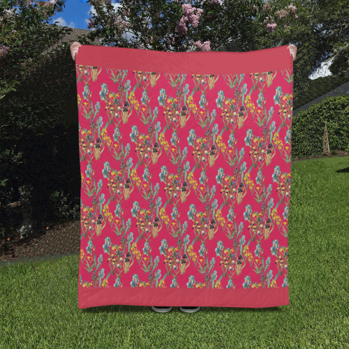 "Irises on a red background Quilt 50""x60"""